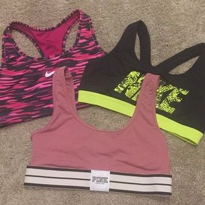 Bundle of 3 Nike & Pink Sports Bras Size Small
